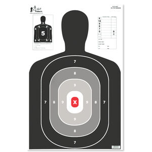 "Pro-Shot 23""x35"" B27 Silhouette with Red Center 5 Pack"