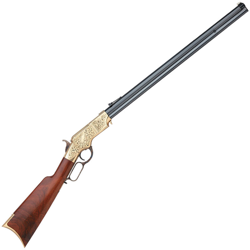 """Taylor's & Co 1860 Henry Lever Action Rifle .44-40 Win 24.25"""" Octagonal Barrel 13 Rounds Engraved and Hand Chased Brass Receiver Walnut Stock Blued"""