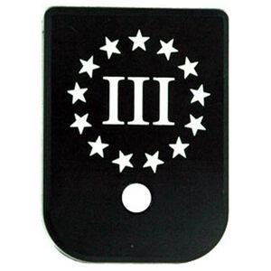 CruxOrd GLOCK Magazine Base Plate Three Percent Flag Aluminum Black