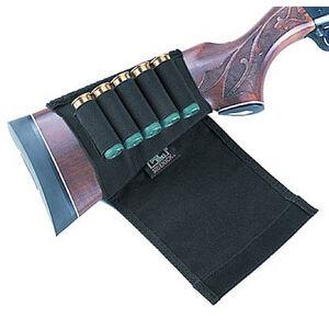 Shotgun Buttstock Shell Holder Hook-and-Loop Flap Holds 5 Shells Black