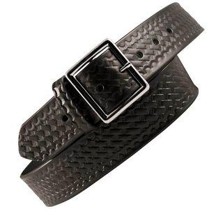 "Boston Leather 6505 Leather Garrison Belt 40"" Nickel Buckle Basket Weave Leather Black 6505-3-40"