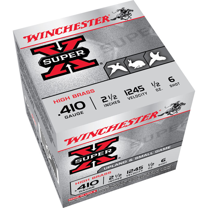 """Winchester Super X Game Load .410 Bore Ammunition 250 Rounds 2.5"""" #6 Lead 1/2 Ounce X416"""