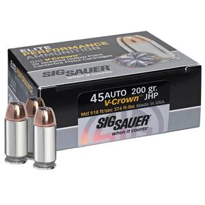SIG Sauer Elite Performance V-Crown .45 ACP Ammunition 230 Grain V-Crown JHP 830fps