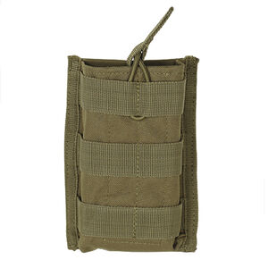 Voodoo Tactical AR-15/M4/M16 Open Top Single Magazine Pouch Bungee Retention System PALS Webbing Compatible Nylon Coyote Tan