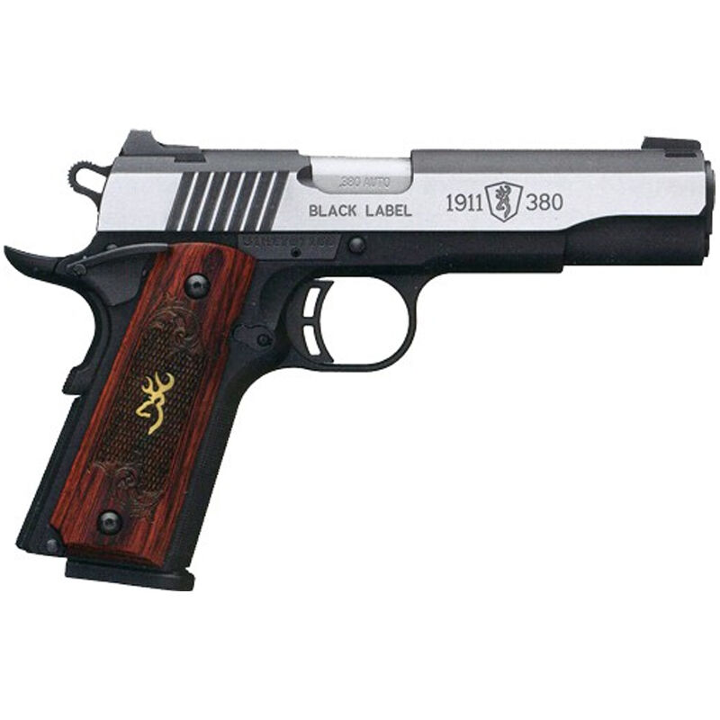 """Browning Black Label Medallion Pro 1911 Semi Auto Pistol 380 ACP 4.25"""" Barrel 8 Rounds Rosewood Grips Night Sights Black/Stainless Steel"""