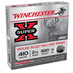 "Winchester Super X .410 2.5"" Rifled Slug 1/5 oz Five Round Box"