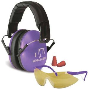 Walker's Game Women Combo Kit Folding Earmuffs with Sport Glasses and Foam Tips Dual Passive Hearing Protection with High Impact Safety Glasses Purple Finish GWP-YWFM2GFP-PUR