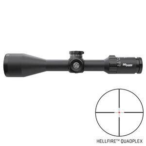 SIG Sauer Whiskey5 5-25x52 Riflescope Illuminated Hellfire QuadPlex Reticle 30mm Tube .25 MOA Adjustment Second Focal Plane CR2032 Battery LR Turret Side Focus LevelPlex Black Finish