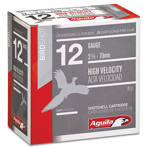"Aguila High Velocity Field 12 Gauge Ammunition 25 Rounds 2-3/4"" Length 1-1/4 Ounce #8 Shot 1330fps"