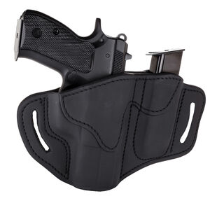 1791 Gunleather Open Top BH2.1M1.2 Multi-Fit OWB Holster With Built in Magazine Pouch for Full Size/Compact Semi Auto Models Right Hand Draw Leather Stealth Black