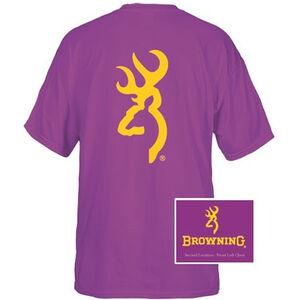 Browning Men's T-Shirt Short Sleeve Large Gold 137 Buckmark Cotton Purple