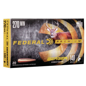 Federal Premium Berger Hybrid Hunter .270 Winchester Ammunition 20 Rounds 140 Grain Berger Hybrid 2950fps