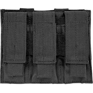 NcSTAR Triple Pistol Mag Pouch Holds Three Double Stack Mags Synthetic Fabric MOLLE Compatible Black