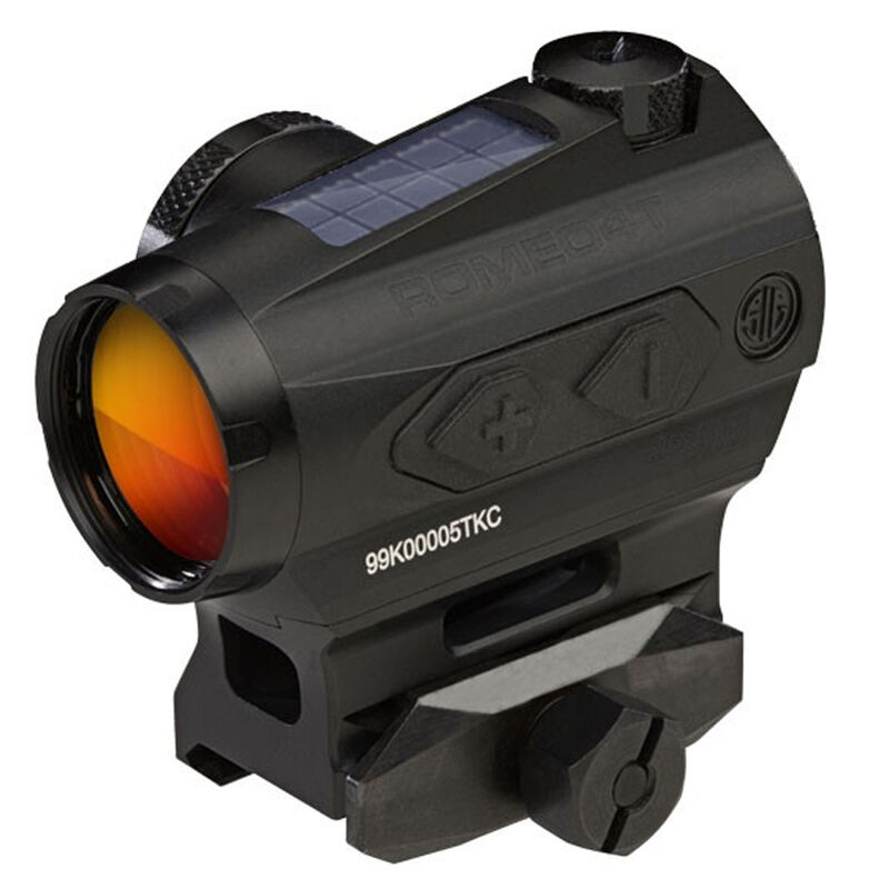 SIG Sauer Romeo4T Red Dot Optic 1x 1 MOA Circle Plex Reticle Picatinny Hex Bolt Mount MOA Adjustment Unlimited Eye Relief Solar/CR2032 Battery Powered Aluminum Housing Matte Black