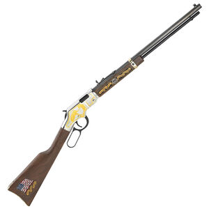 """Henry Repeating Arms Golden Boy Military Service Tribute 2nd Edition Lever Action Rimfire Rifle .22 S/L/LR 20"""" Octagonal Barrel 16 Rounds American Walnut Stock Nickel Finish with Golden Engravings H004MS2"""