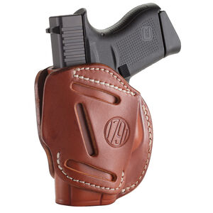 1791 Gunleather 3WH 3 Way Multi-Fit OWB Concealment Holster for .380 ACP Semi Auto Models Ambidextrous Draw Leather Classic Brown