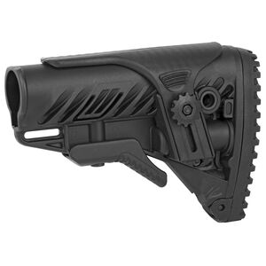 FAB Defense AR-15 Buttstock with Adjustable Cheek Rest Mil-Spec and Commercial Tubes Polymer Black