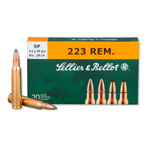 Sellier & Bellot .223 Remington Ammunition 20 Rounds 55 Grain Soft Point 3301 fps