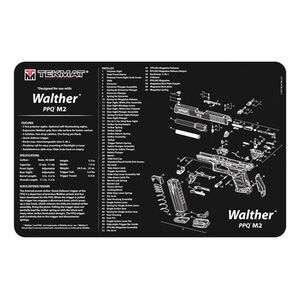"""TekMat Walther PPQ M2 Armorer's Bench Mat 11""""x17"""" Cloth Topped Neoprene Black"""