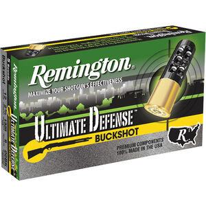 "Remington Ultimate Defense 12 Gauge Ammunition 5 Rounds 2.75"" Reduced Recoil #00 Lead Buckshot 9 Pellets"
