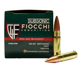 Fiocchi .300 AAC Blackout Ammunition 25 Rounds Match MK HPBT 220 Grains