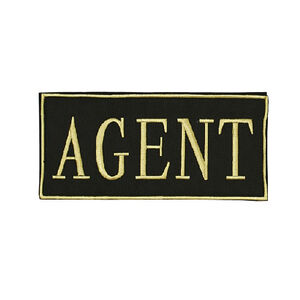 """Voodoo Tactical Law Enforcement Patches AGENT 4""""x2"""" Gold on Black"""