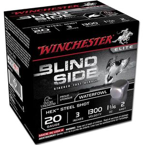"Winchester Blind Side 20 Ga 3"" #2 Hex Steel 250 Rounds"