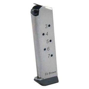 Ed Brown 1911 Government/Commander Full Size 7 Round Magazine .45 ACP Stainless Steel Natural Finish