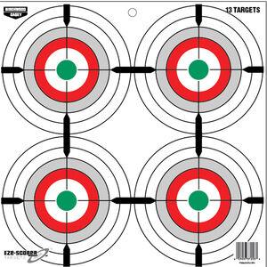 """Birchwood Casey Eze-Scorer 12 Inch Multiple Bull's-Eyes Target Paper Target 12""""x12"""" Green Red Gray 13 Pack"""