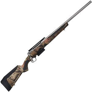 "Savage 220 Slug Stainless Camo 20 Gauge Bolt Action Shotgun 22"" Rifled Barrel 2 Rounds Optics Rail MOBU Infinity Camo Synthetic Stock Stainless Finish"