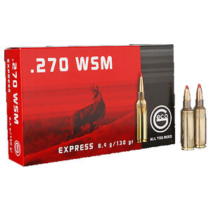 GECO .270 Winchester Short Magnum Ammunition 20 Rounds 130 Grain GECO Express Polymer Tip Projectile