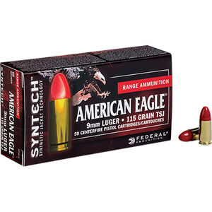 Federal American Eagle 9mm Luger Ammunition 50 Rounds TSJ 115 Grains AE9SJ1