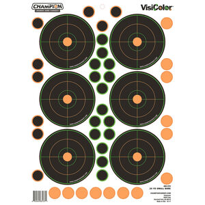 """Champion Traps & Targets VisiColor Adhesive 25 yard Small Bore Sight In Target 8.5""""x11.5"""" 5 Pack"""