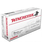 Winchester USA 9mm Luger Ammunition 50 Rounds, FMJ, 124 Grains