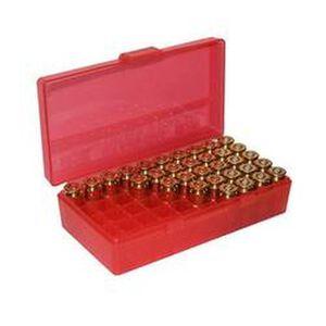 MTM Case-Gard P-50 Original Series Flip Top Handgun Ammo Box .44 Special/.44 magnum Holds 50 Rounds Clear Red P50-44-29