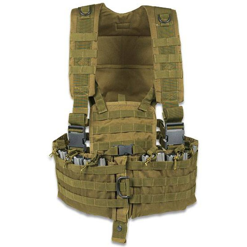 ModGear Tactical Magazine Chest Rig Coyote Tan Six Mag Pouches Hydration Bladder Pocket MOLLE Compatible 20-8400