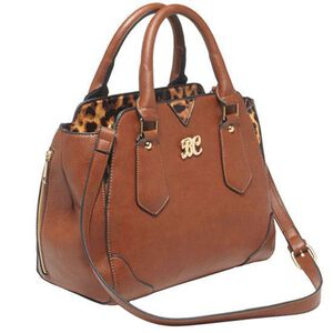 "Bulldog Cases Satchel Style Purse 16""x9.5""x5.5"" Leather Chestnut/Leopard Print Accents BDP-024"