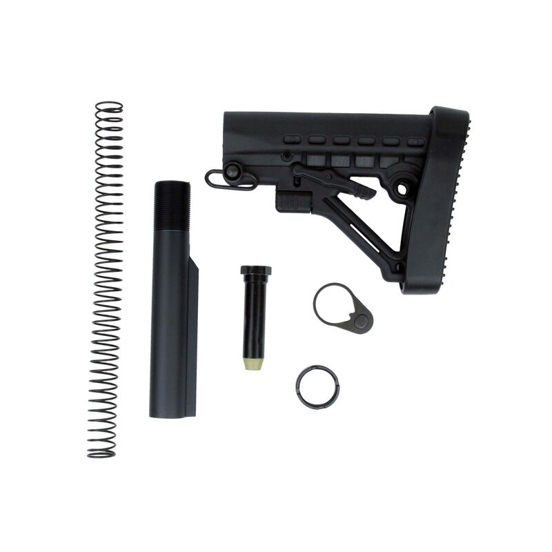 TacFire AR-15 Mil-Spec Buffer Tube Kit With Six Position Stock And Buttpad Black MAR050
