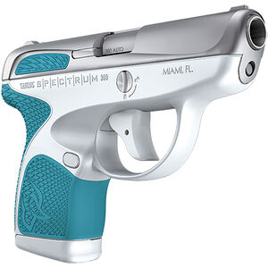 "Taurus Spectrum .380 ACP Semi Auto Pistol 2.8"" Barrel 6 Rounds White Polymer Frame with Cyan Inserts Stainless Finish"