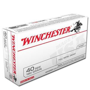 Winchester USA .40 S&W Ammunition, 50 Rounds, FMJ, 180 Grains
