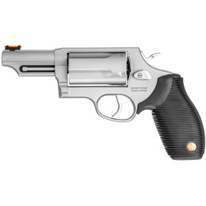 """Taurus Judge .45 Long Colt/.410 Bore Revolver 3"""" Barrel 2.5"""" Chamber 5 Round Ribbed Rubber Grip Stainless Steel Frame Matte Stainless Finish"""