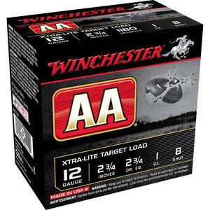 "Winchester USA AA Xtra-Lite Target Load 12 Gauge Ammunition 2-3/4"" #8 Lead Shot 1 oz 1180 fps"