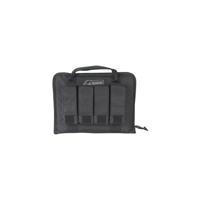 "Voodoo Tactical Pistol Case with Magazine Pouches 12"" x 9"" x 2"" Full Padding Nylon Black Teal"