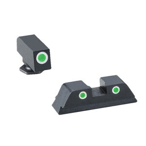 Ameriglo Tall Suppressor Sight Set  for GLOCK 3-Dot Green Tritium Front Dot with Black Outline and Green Tritium with Black Outline Rear Dot