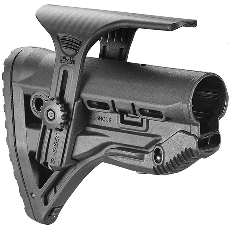 FAB Defense AR-15 Shock Absorbing Buttstock with Cheek Rest Mil-Spec and Commercial Tubes Polymer Black