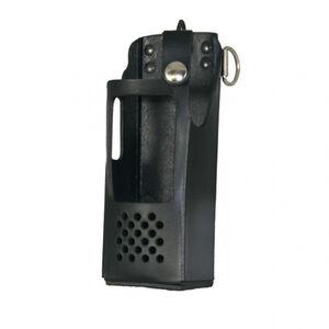 Boston Leather Firefighter's Radio Holder Fits EF Johnson 5100ES Nickel Hardware Leather Plain Black