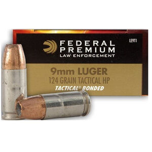 Federal LE Tactical 9mm Luger Ammunition 1000 Rounds 124 Grain Tactical Bonded Hollow Point Projectile