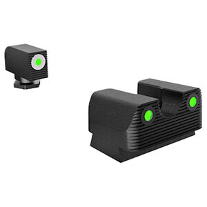 Rival Arms Tritium Handgun Night Sights for GLOCK 42/43 White Front Ring CNC Machined Stainless Steel Billet Matte Black Finish