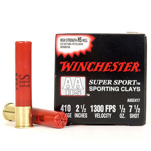 """Winchester AA Super Sport .410 Bore Ammunition 25 Rounds 2.5"""" #7.5 Lead 1/2 Ounce AASC417"""