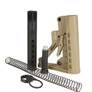 JE Machine Mil-Spec Skeleton A-Frame Combo Buffer Tube, Spring, Castle Nut, End Plate, Swivel (Tan)
